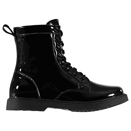 Miso 8 Loch Damen Stiefel Boots Schnürstiefel Militär Stil Schwarz Lack