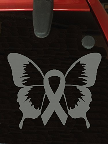 Gray Ribbon Butterfly Window Decal (Brain Tumor, Brain Cancer, Allergies, Aphasia, Asthma, Diabetes, Parkinson's) ()