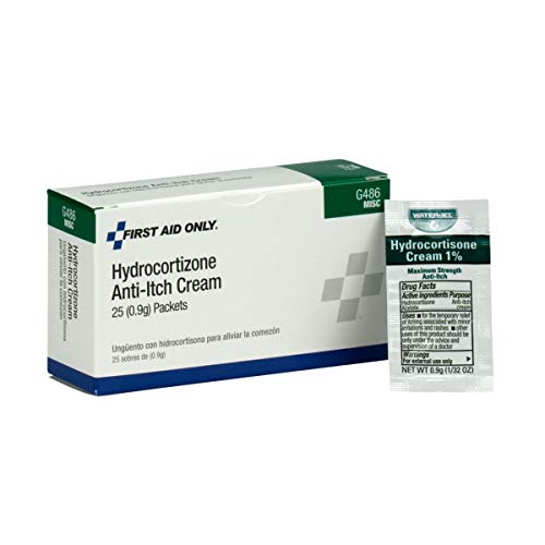 Hydrocortisone Cream, 25/Box - Emergency Kit Trauma Kit First Aid Cabinet Refill