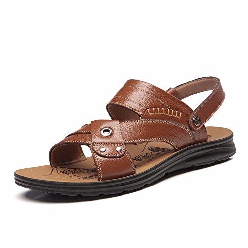 Sommer Echtleder Sandalen Männer Strand Schuh Männer Sandalen Männer Schuh Atmungsaktiv Freizeit Schuh Männer Trend ,GelbA,US=8.5,UK=8,EU=42,CN=43