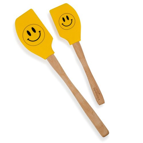 Tovolo Spatulart Smiley Face Spatulas, Heat Resistant, Dishwasher Safe - Set of 2 ()