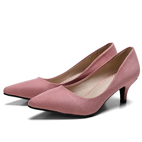 cordones Sin Puntiagudo Tacón Mujer AalarDom De Sólido Rosa salón Medio Sintético Esmerilado 5q0Ew