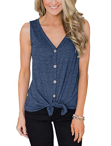 EasySmile Womens Button Down Tank Tops Tie Knot Shirts Loose Fitting V Neck Casual Tunics Blouses S-XXL (Blue, Medium)