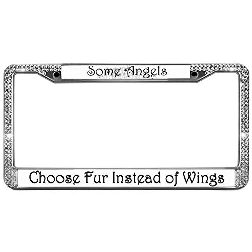 (GND Some Angels Choose Fur Instead of Wings Rhinestone License Plate Frame,Diamond Sparkly License Plate Frame Dog Paw Prints Rhinestone License Plate Frame for US Vehicles)