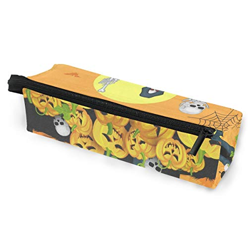 Sunglasses case Skelton with Pumpkin Halloween Pen Pencil Case Stationery Pouch Storage Box Cosmetic Bags Eyeglasses Bag with Hanging Loop