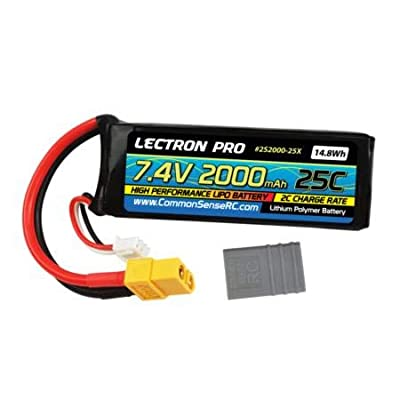 Lectron Pro 7.4V 2000mAh 25C Lipo Battery with XT60 Connector & CSRC Adapter for XT60 Batteries: Toys & Games