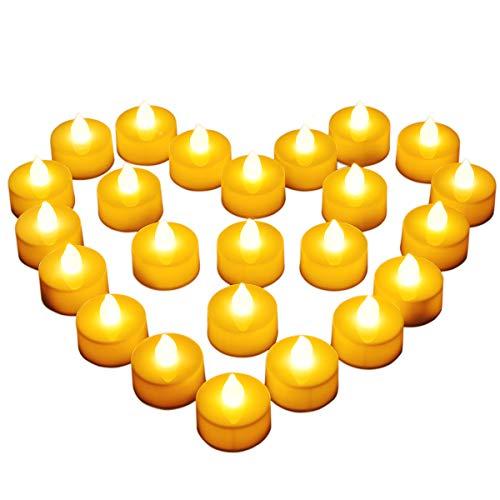 Diyife Vela LED, [24 PC] Luces de Te sin Llama Velas Led de Te Velas Electricas con Baterias [Amarillas Calidas] Dia de San Valentin, Halloween, Navidad, Decoracion de Cumpleanos