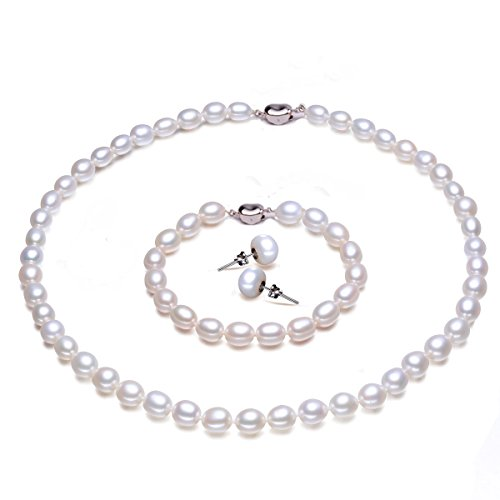 JYX 7.5-8mm Rice-shaped Freshwater Pearl Necklace Bracelet and Earrings Set