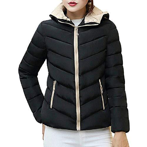 Balakie 2019 Womens Winter Warm Solid Coat Thicken Slim Zipper Jacket Overcoat (Black,XXL)