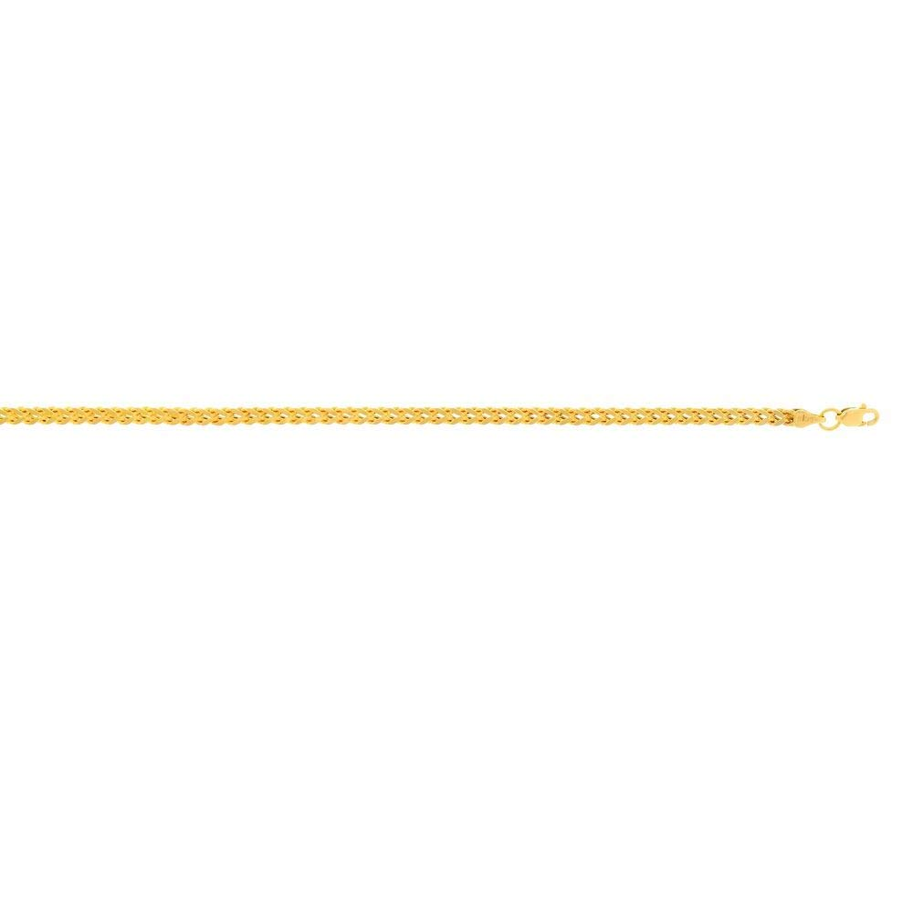 14 Karat Gelbgold 3,2 mm, quadratisch Franco Kette Halskette Länge mit Karabinerverschluss – Länge Halskette Optionen: 46 51 61 2fa422