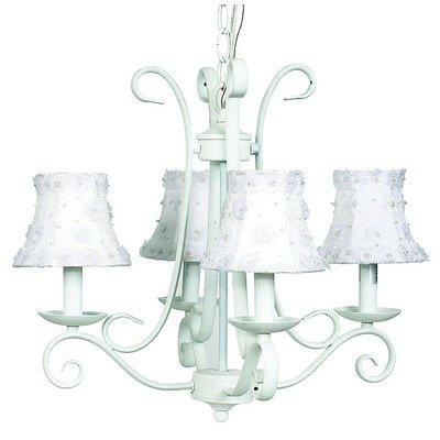Jubilee Collection 74502-2056 4 Arm Harp Chandelier with Petal Flower Shade, White