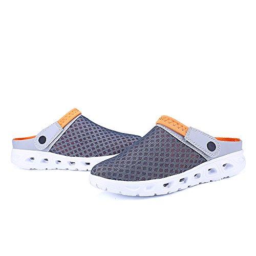 Bwiv Unisex Mesh Clogs Umweltfreundlich Leicht EVA Sohle Mit Schuhe Tasche Größenbereich 36 bis 46 Grau und orange