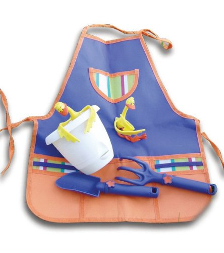 Tierra Garden W0015 Childrens Tool Kit Plastic Trowel and Fork Flexible Duck Plant Supports, Apron