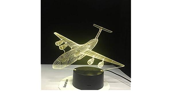 Aviones 3D Night Light LED 7 colores Cambio de avión de aire ...