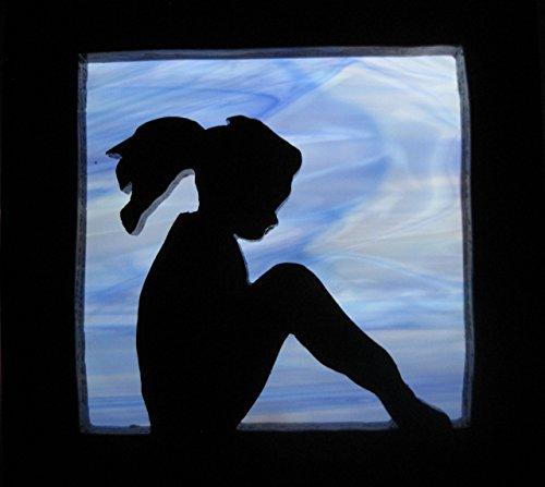 Stain glass night light Little Girl blue silhouette Handmade in the - Kids Silhouette Glasses