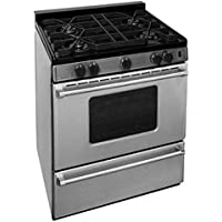 Premier P30B3102PS 30 Pro Series Gas Range with 4 Sealed Top Burners Separate Broiler Compartment 17 000 BTU Oven Burner and Battery Spark Ignition in Stainless