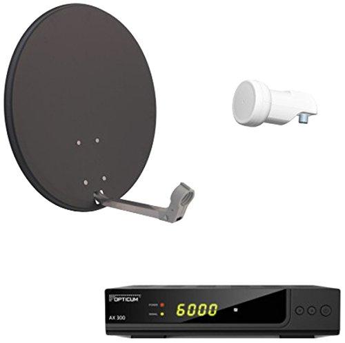 Opticum Digitale 1 Teilnehmer Satelliten-Komplettanlage HD AX 300 HDTV-Receiver (Single-LNB, X60 cm Antenne) anthrazit