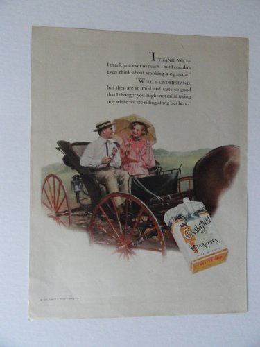 (Chesterfield, 30's Print Ad. full page color Illustration, print ad (man and woman sitting on buggy/horse) Original Vintage 1934 The Home Arts Magazine Print art ***store link [www.amazon.com/shops/ads-thru-time])