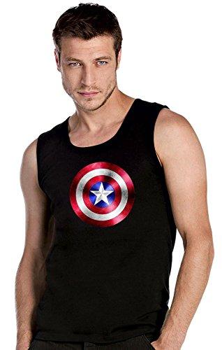 Captain America Superhelden Sheldon schwarze Top Tank T-Shirt -2073