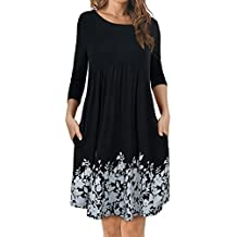 FANSIC Womens Short Sleeve Floral Printed Pleated Swing Midi Dress with Pockets