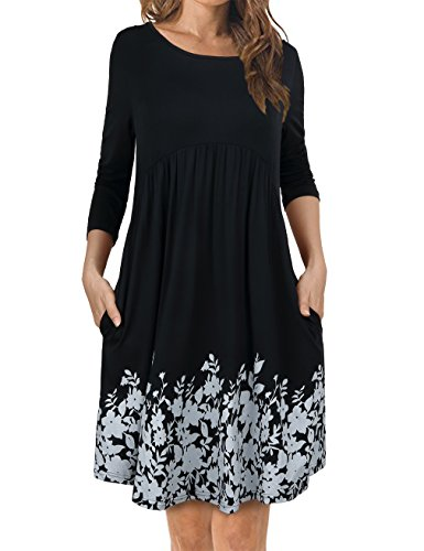FANSIC Women's Scoop Neck Long Sleeve Casual T-Shirt Dresses with Pockets Black (Long Dress Neck Sleeve Scoop)