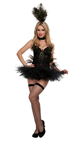 Starline Exotic Peacock Women's Sexy Costume 4 Piece Set, Black, Small (Sexy Peacock Costume)