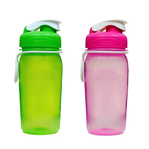 Rubbermaid 14 oz. Reusable Refillable Water Bottle (1 Pack of 2 - Pink & Green) ()