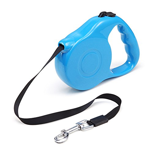Aipet Retractable Dog Leash - Ribbon Lead for Training, Backyard Use and (Blue Dog Leash)