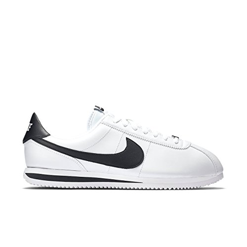 Nike Mens Cortez Basic Leather Casual Shoe White/Black/Metallic Silver 8.5
