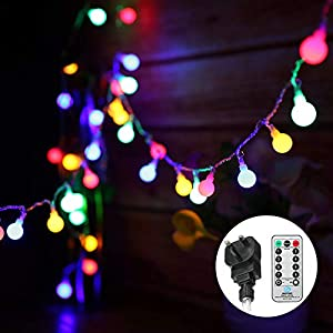 Globe String Lights Mains Powered 13M/43ft 100 LED Outdoor Fairy Lights Multi-Color 8 Modes Waterproof with Remote…