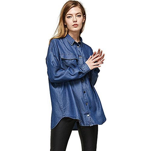 Wholesale Escalier Women's Denim Shirt Chambray Tencel Long Sleeve Button Down Shirts Oversize Blouse