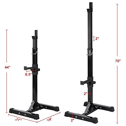 Yaheetech Pair of Adjustable Squat Rack Standard Solid Steel Squat Stands Barbell Free Press Bench Home Gym Portable Dumbbell Racks Stands 44''-70'' by Yaheetech (Image #1)