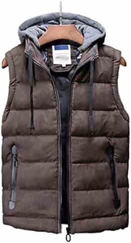 db6f52c5e2d Sleeveless Jacket for Men Fashion Warm Hooded Male Winter Vest Light Plus  Size Mens Work Vests