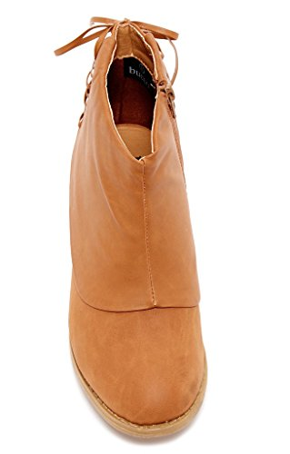 Bucco Remie Mujeres Fashion Layered Shaft Botas Cognac