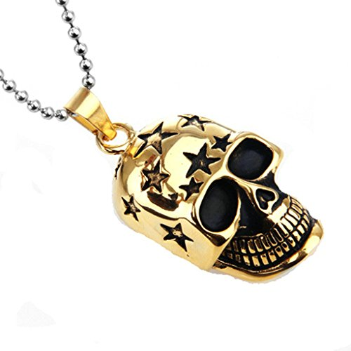 el Jewelry Stainless Steel Necklace Men Pendant Necklace Stars Skull Gold ()