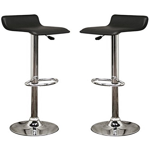 Wholesale Interiors Steel Bar Stool - Wholesale Interiors Vita Black Faux Leather Bar Stool