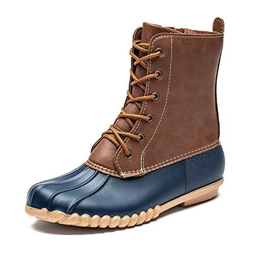 DKSUKO Women's Duck Boots with Waterproof Zipper (6 B(M) US, Blue No Fur)