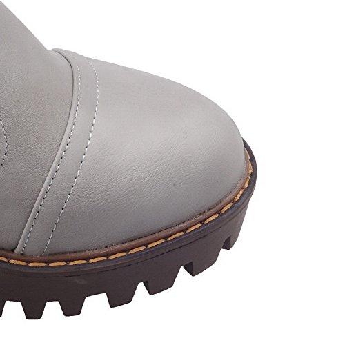 AllhqFashion Damen Rund Zehe Ziehen auf PU Leder Rein Hoher Absatz Pumps Schuhe Grau