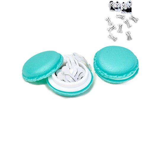 MO Macaron WHITES BONE SNAP HAIR CLIPS - 10 WHITE BONE SHAPED Hair Clips in MACARON CASE - CUTEST Candy Color Macaron Case Kawaii - Bone Snaps for maltese, yorkie, puppy, dog