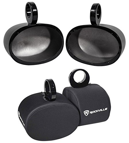 Pair Rockville MAC69B 6x9 Black Aluminum Wakeboard Tower Speaker Pods+Covers (Best Affordable Wakeboard Boats)