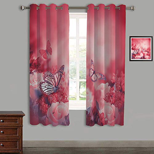 Polyester Curtains Back Tab and Rings top Outdoor Curtains 2 Panels,105
