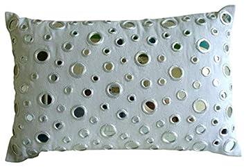 White Lumbar Pillow Cover, Mirror Polka Dots Lumbar Pillow Cover, 12 x18 Lumbar Pillow Cover, Rectangle Cotton Canvas Lumbar Pillow Cover, Polka Dot Contemporary Lumbar Pillow Cover – Mirrors