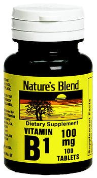 Nature's Blend Vitamin B1 100 mg Tablets - 100 ct, Pack of 6