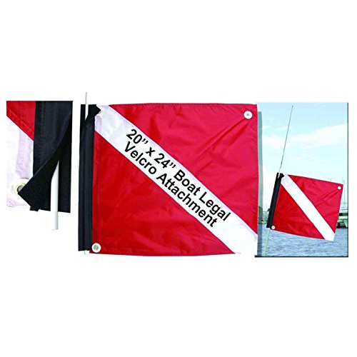 (Marine Sport 4678 Deluxe 20 by 24-Inch Dive Flag with Velcro Attachment)