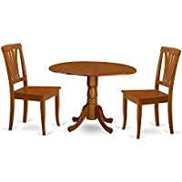 East West Furniture DLAV3-SBR-W 3-Piece Kitchen Table and Chairs Set, Cappuccino Finish