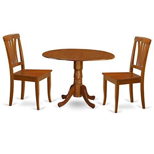 East West Furniture DLAV3-SBR-W 3 PC Small Table Set-Kitchen Nook and 2 Dining Chairs, Cappuccino Finish