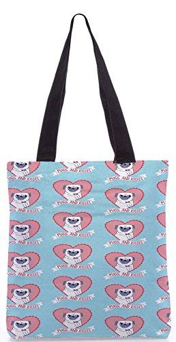 Snoogg Carlini E Baci Carino Shopping Bag 13.5 X 15 Pollici Tote Bag Realizzato In Tela Di Poliestere