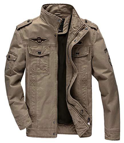Collare Cotone A Giacca Del Con Militare Spalline Kaki Gocgt Vento Basamento Degli Uomini rqwtUrg