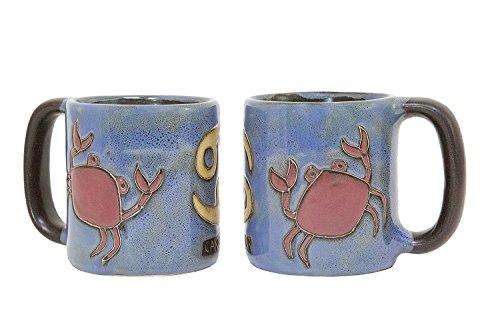 Cancer Zodiac Mug - One (1) MARA STONEWARE COLLECTION - 16 Oz Coffee Cup Collectible Dinner Mug - Zodiac Sign - Cancer The Crab Design