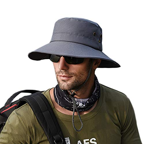 zenicham Sun Protection Hat for Men Wide Brim Bucket Hat Waterproof Breathable Packable Boonie Hat for Fishing Beach Golf Safari UV Protecion - Brim Large Bucket
